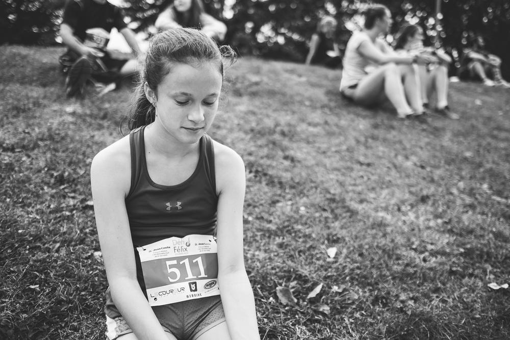 Sarah tout de suite après sa première course de 5 km.