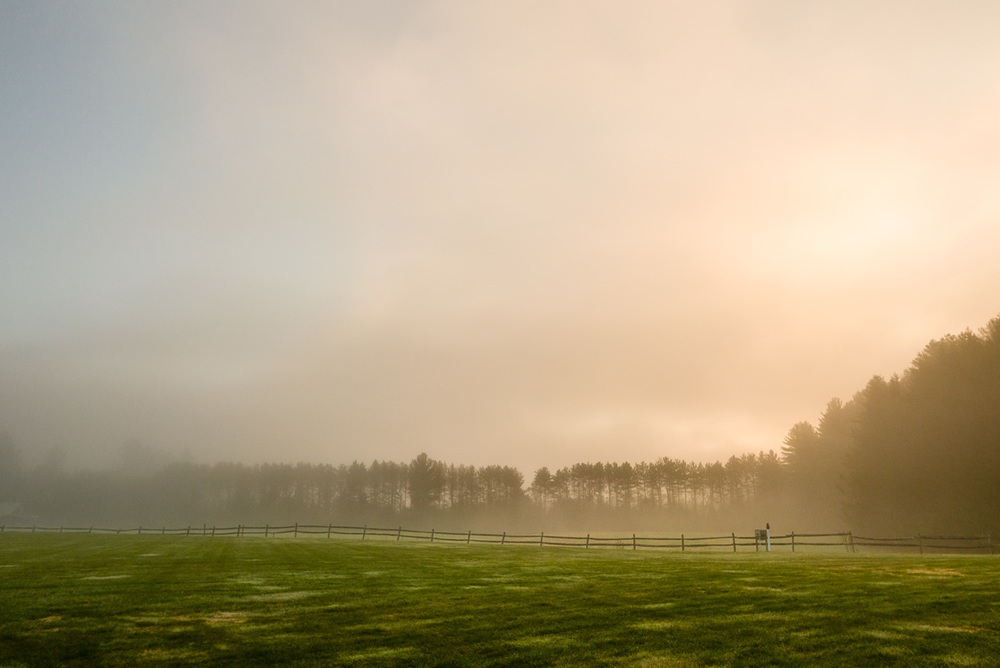 Brume matinale à la ferme Riverside, VT