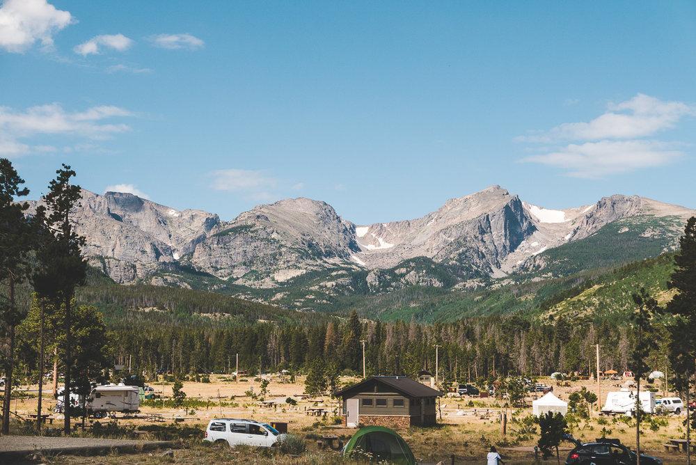 Vue de notre tente à Glacier Basin Campground, RMNP, Colorado