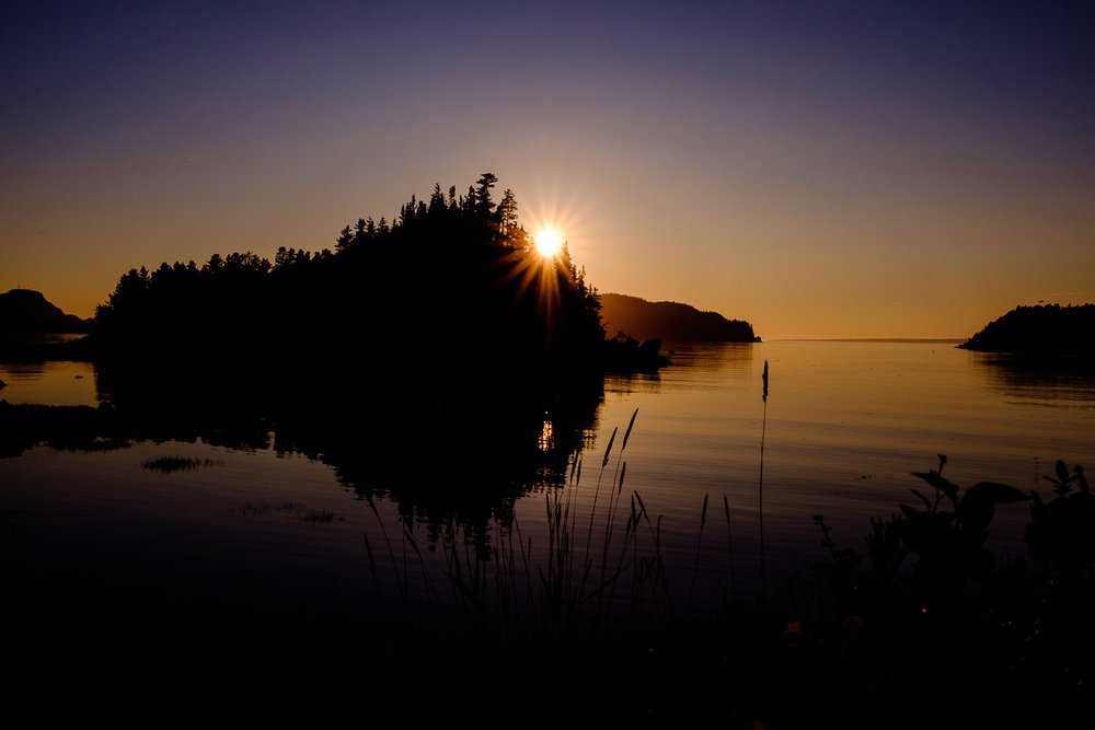Coucher de soleil sur le parc national du Bic