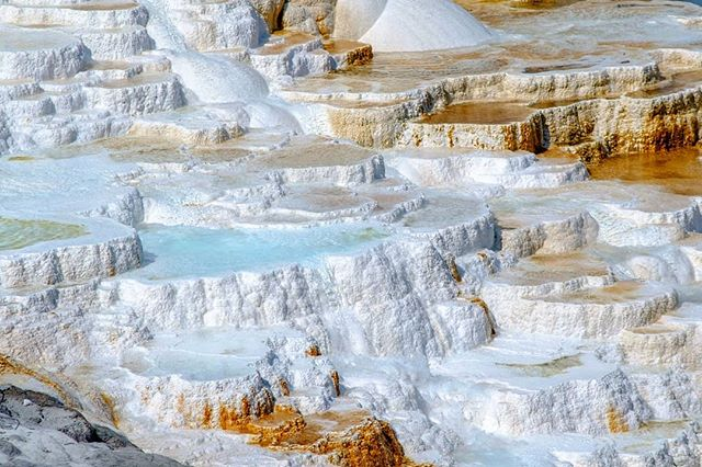 Mammoth Hot Springs in Yellowstone National Park. Interesting colors... And smells ;)
