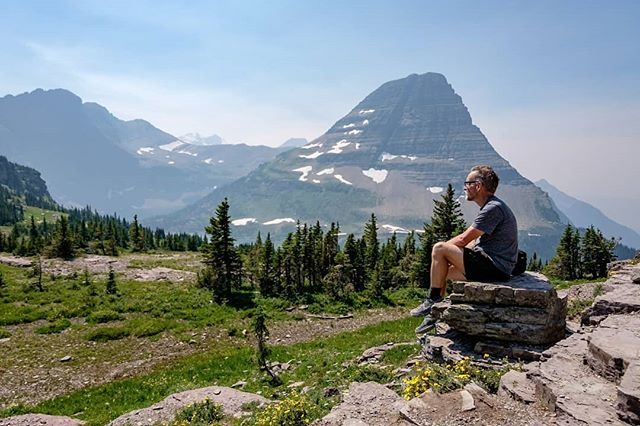 Hidden Lake trail. You can see the smoke from the California fires. #glaciernationalpark #glaciernps #hiking #roadtrip #rockies #mountains #montana #peaceful #happyplace