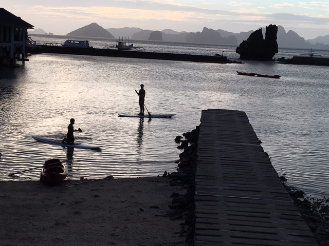 That's me standing on the paddle board.