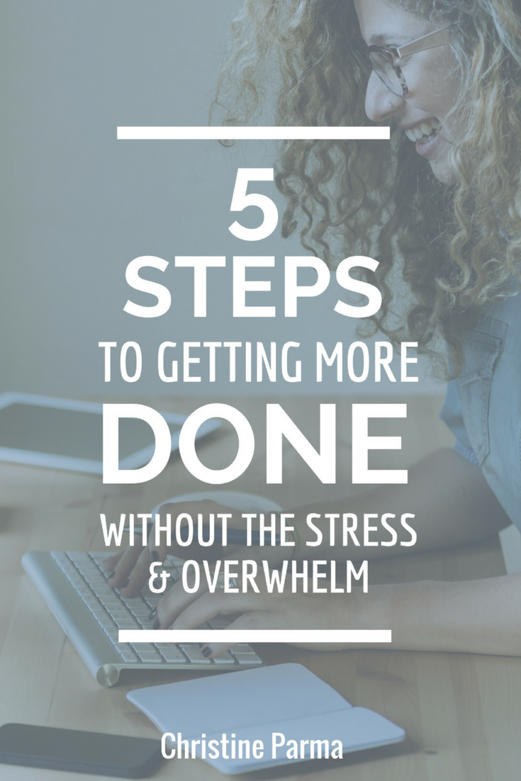 5 Steps to Getting More Done without the Stress and Overwhelm. Download the free planner that helps you reach your goals big goals in half the time. #mompreneur #entrepreneur #productivity #goals http://ChristineParma.com