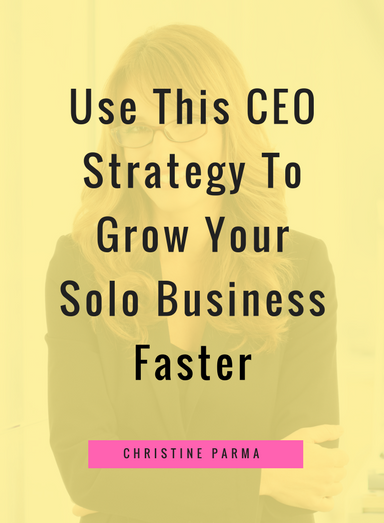 "As a solopreneur or freelancer, you aren't just a business owner… you are the CEO of your company! But a lot of hard-working entrepreneurs aren't approaching their business like a ""real"" CEO would and it leads to a lot of unnecessary overwhelm, frustration and too little pay-off for all of the hard work.   Today I'm going to help you ditch overwhelm and help you grow your business faster with a deceptively simple shift. http://christineparma.com/blog/ceo-strategy"
