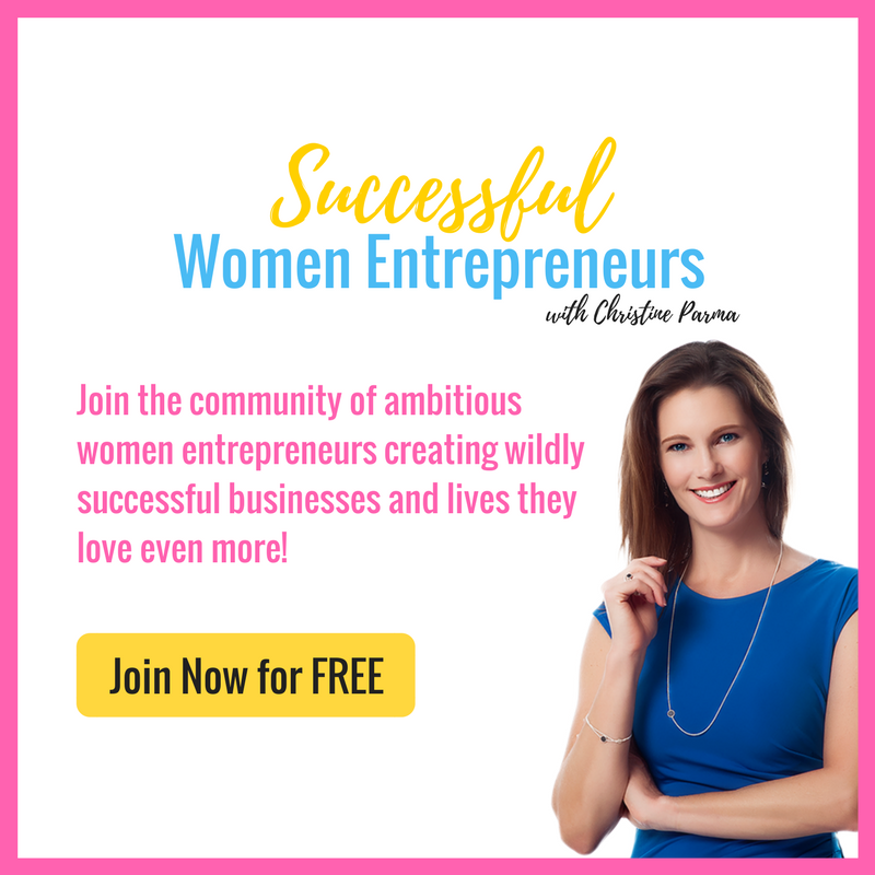 Get access to exclusive training, personal feedback and coaching... for FREE! This group was created just for YOU, the go-getting, making-my-dreams-happen woman entrepreneur. You want to make an impact… and a mountain of money, too... but without sacrificing what matters most to you along the way.   Join the Successful Women Entrepreneurs community to get access to exclusive training, coaching and support to help you build a wildly successful business you love and a life you love even more! Join here >   http://bit.ly/2w6Yhhm    http://ChristineParma.com  #entrepreneur #femaleentrepreneur #entrepreneurship #success #business #mompreneur #bosslady #girlboss #bossmom #WAHM #startup #womeninbusiness #smallbusiness #creativeentrepreneur #lifecoach