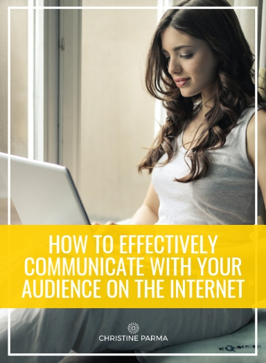 Whether you're a solo entrepreneur, a small business or a startup that's failing to garner a loyal audience, we've put together some ideas on how you can effectively communicate with your audience over the internet. This will help your brand grow, it will draw in more leads and it will ultimately improve your company's image.  http://christineparma.com/blog/how-to-effectively-communicate-with-your-audience-on-the-internet