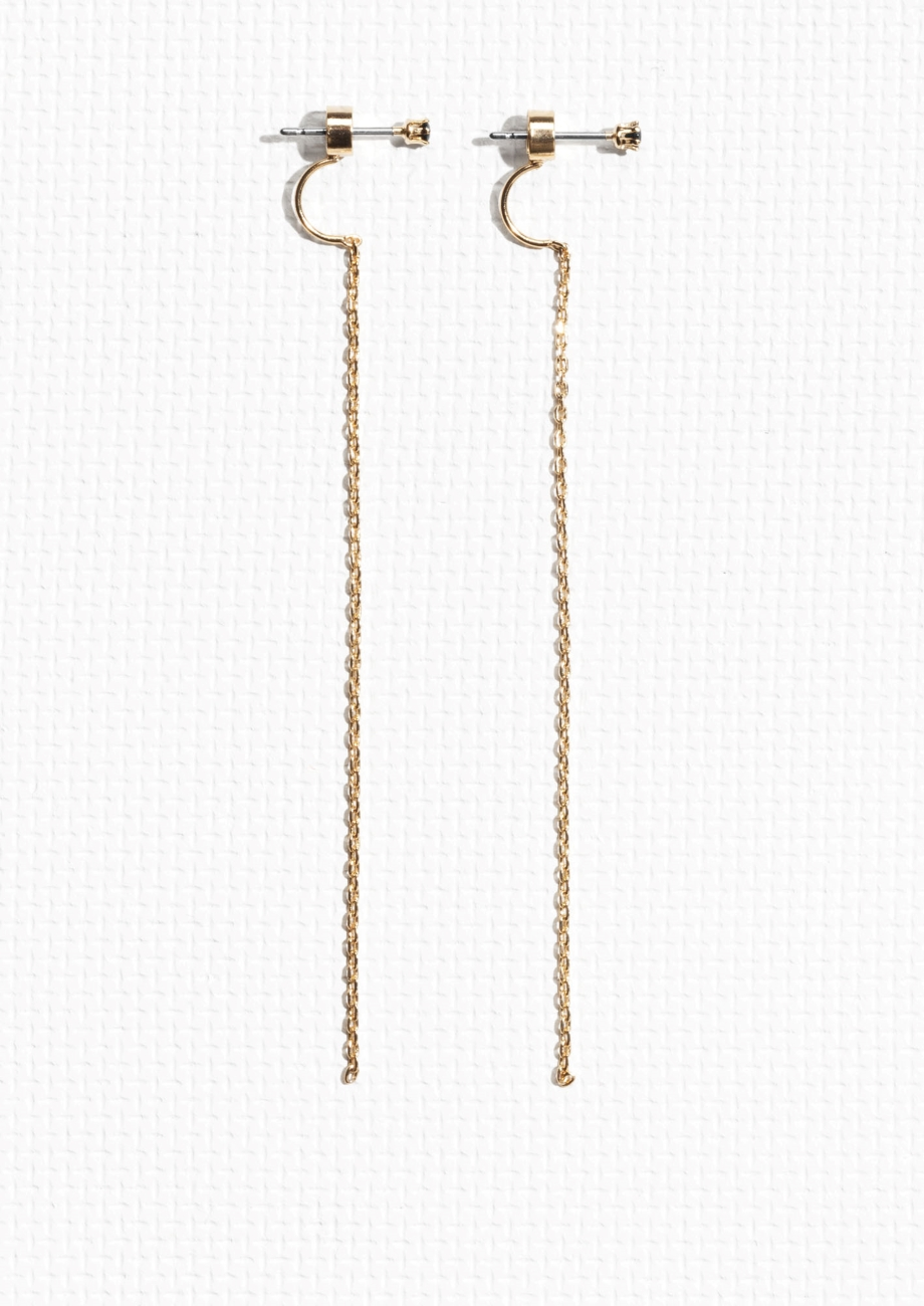 Chain Drop Back Rhinestone Earrings - £12, & Other Stories
