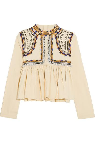 Isabel Marant Sachi embroidered cotton-twill top, NET A PORTER £605