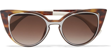 FENDI Cutout cat-eye acetate and gunmetal-tone sunglasses, £270