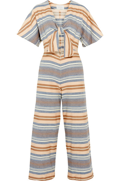 SOLID AND STRIPED The Tie cutout striped basketweave cotton jumpsuit£245.jpg
