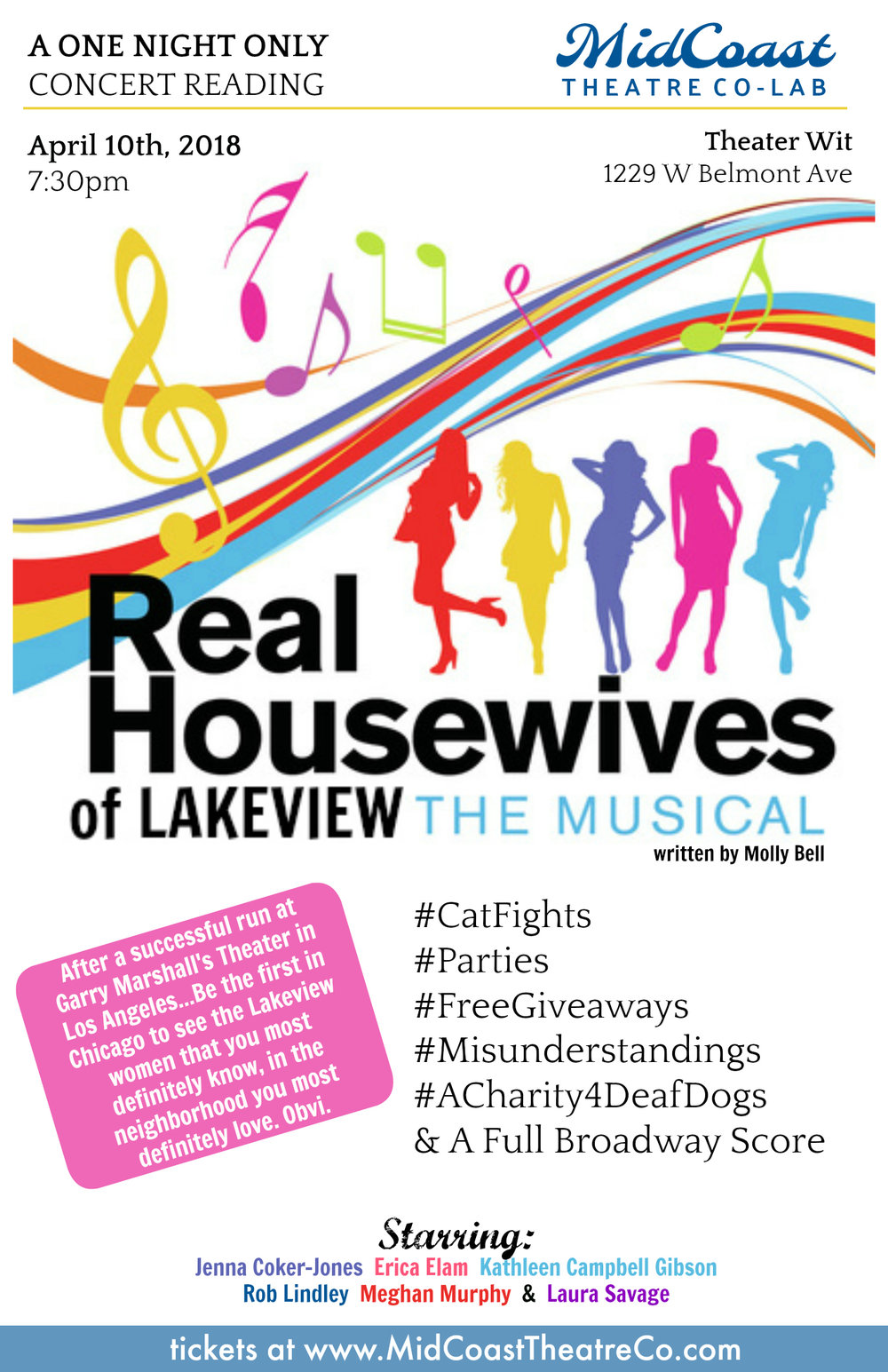 MidCoast Theatre Co-Lab @ Theater Wit  April 10th, 2018   - Jenna (Artistic Director of MidCoast...) is bringing the REAL HOUSEWIVES Musical she did in Los Angeles to CHICAGO's LAKEVIEW Neighborhood for a ONE NIGHT ONLY Concert at Theater Wit in the Belmont Theater District. Jenna* will reprise her role as Penny Quinoa St Simone & Directing a badass group of Chicago Actors including Rob Lindley*, Erica Elam*, Kathleen Campbell Gibson*, Christina Hall*, Laura Savage* & your host Sawyer Smith*.*Members of Actor's Equity Association