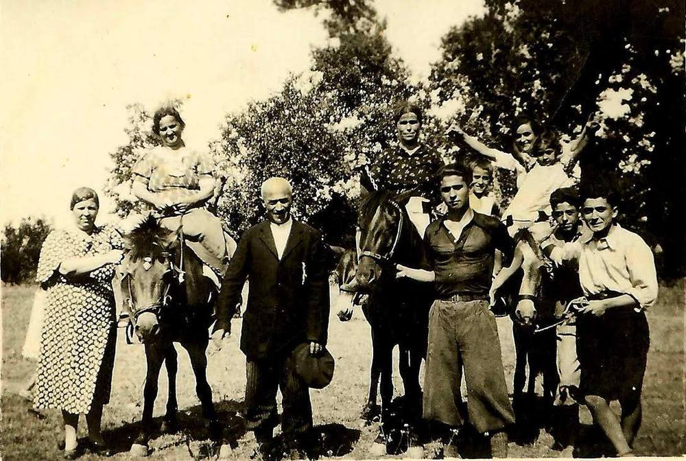The Iliadis family in Verea, Greece in the 1930s. George Iliadis, Elizabeth's father, is the young boy in the background straddling two mules.