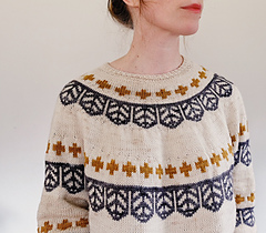 This relaxed and comfy sweater is a graphic, modern dream come true! So easy to wear yet still stylish. Knitted from the top down with rounds of colorwork, this design is straightforward and easy to knit while still being engaging.   Download from Ravelry Here