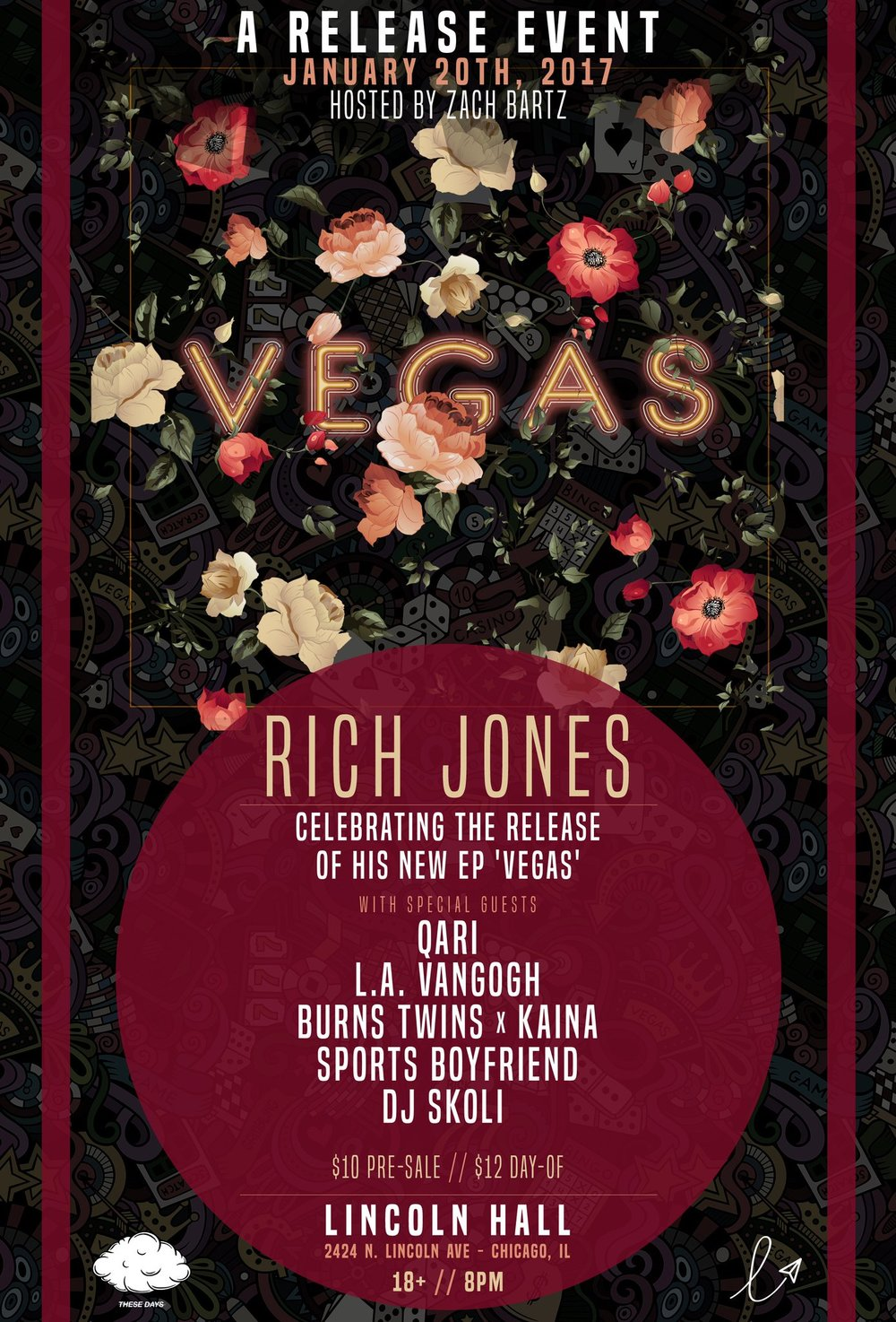 Jan. 20: Rich Jones With Qari, L.A. VanGogh, Burns Twins X Kaina, Sports Boyfriend FRIDAY, JANUARY 20, 2017 8:00PM  11:30PM LINCOLN HALL