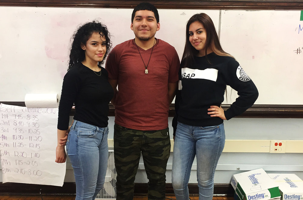 Alex Rojas, Alondra Cerros, and Annelisse Betancourt from Lake View High School.