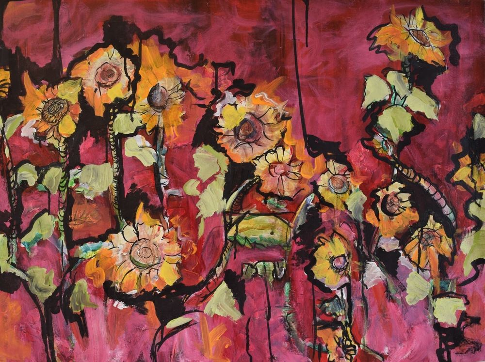 "Sunflower Garden/ Mixed Media on Canvas/ 24x32""/ July 2013"