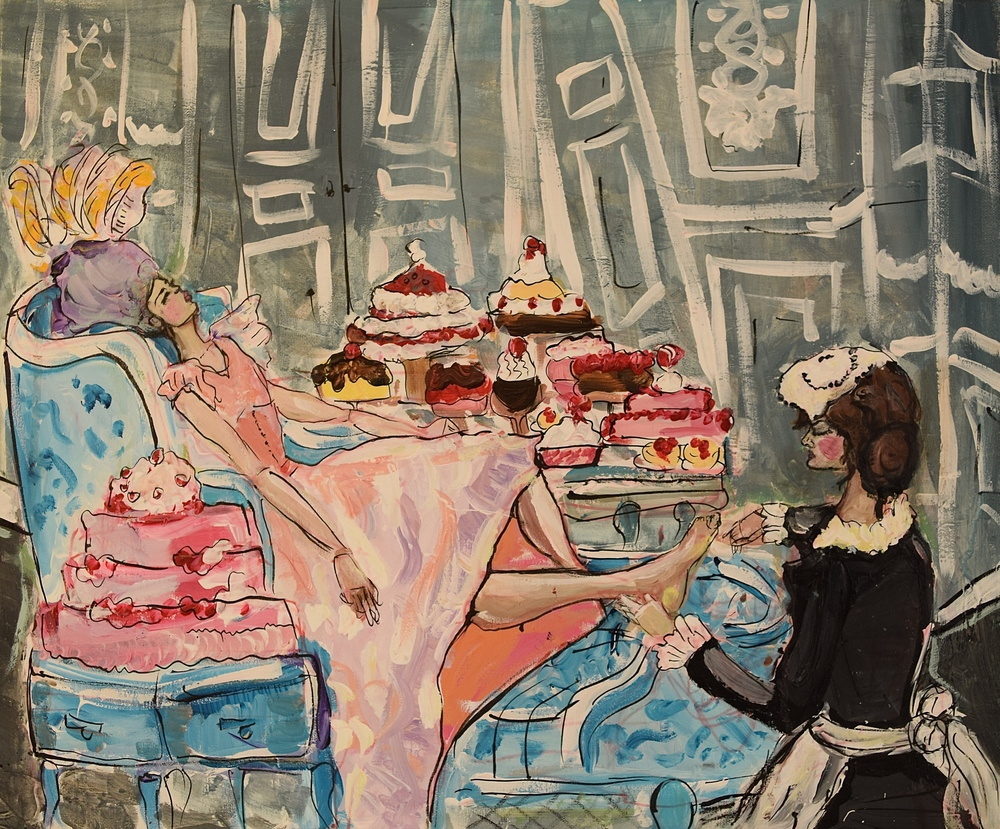 "Cake, inspired by the film ""Marie Antoinette""/ Mixed Media on Canvas/20x23.5""/July 2012"