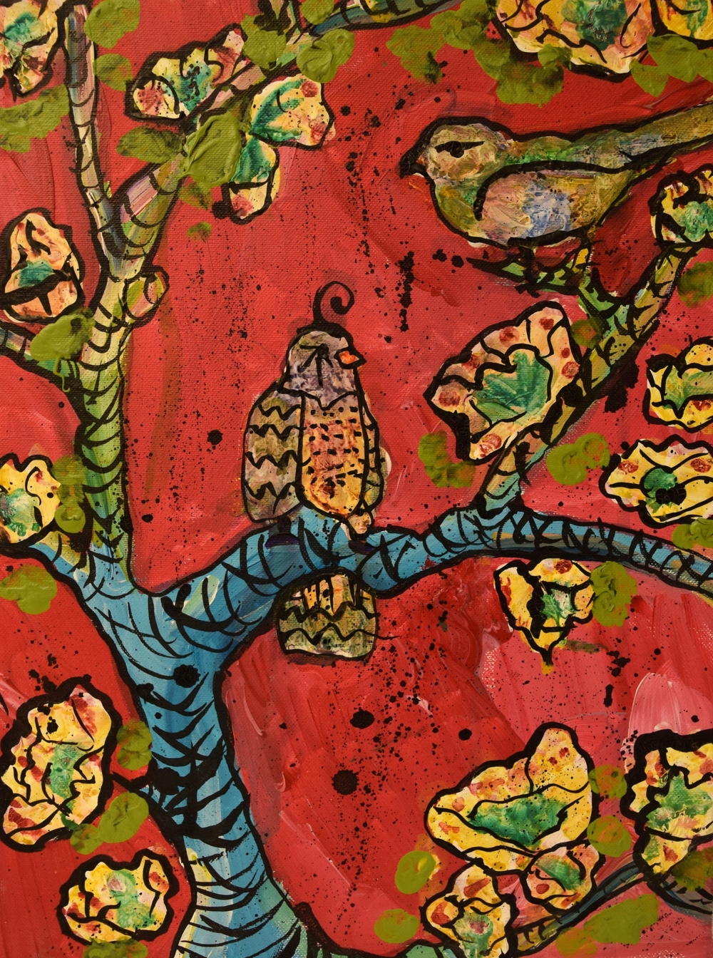 "Birds/ Mixed Media on Canvas/ 12x16""/ July 2012"