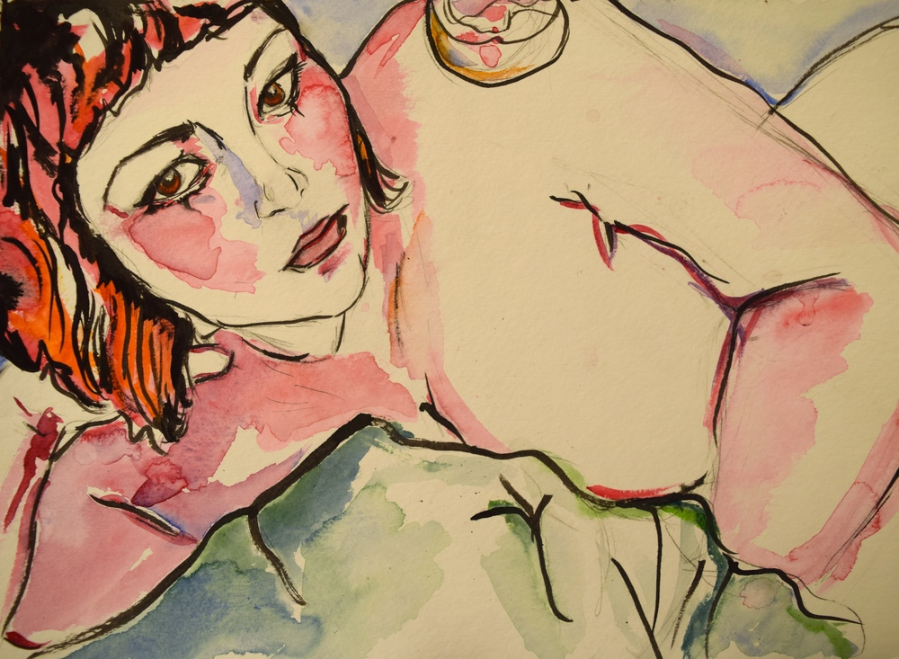 "Pink Self-Portrait/ Watercolor and Ink on Paper/ 11x15""/ March 2014"