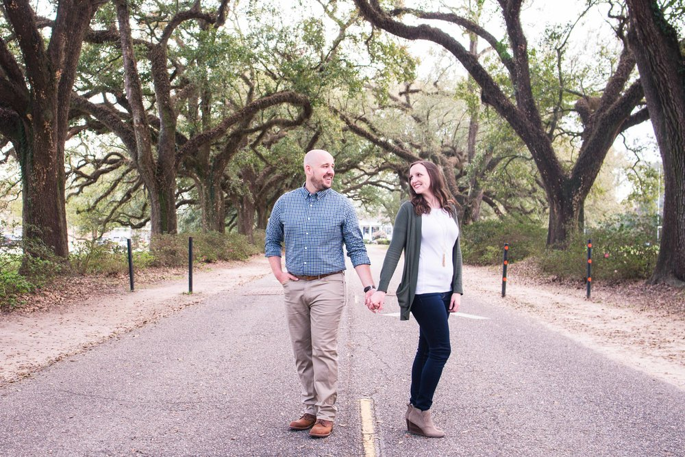 Haley and Howard Springhill College Mobile Alabama Spring Engagement Avenue of Oaks