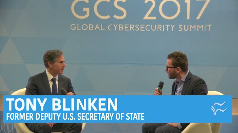 Conversation with Antony Blinken at the Global Cybersecurity Summit about cybersecurity policy