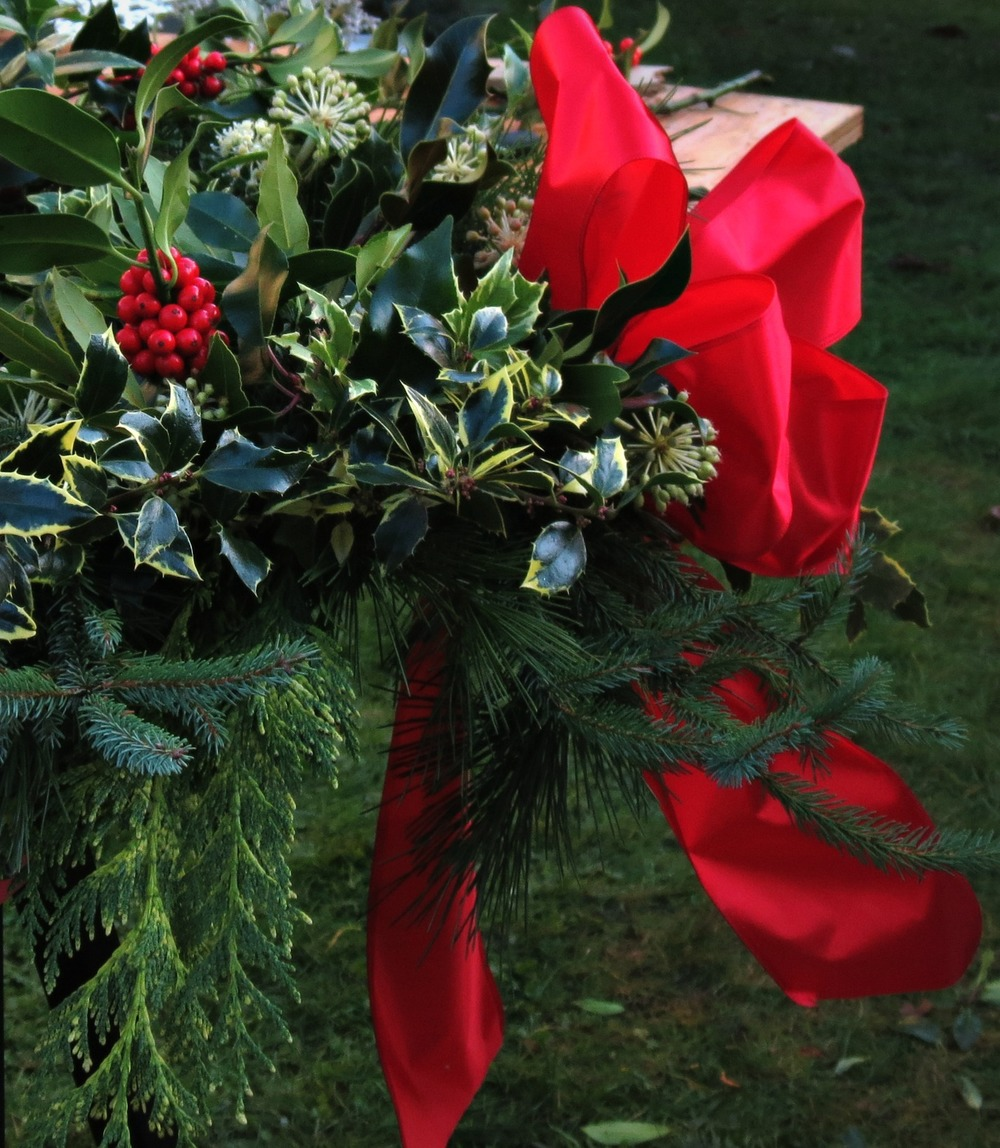 Variegated Holly, Cedar, Spruce and Fatsia flowers