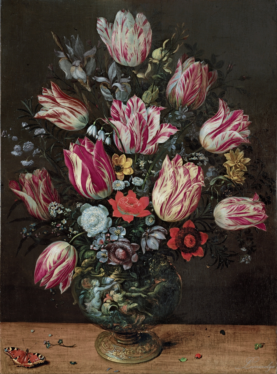 Andries Daniels and Frans Francken the Younger,  Vase with Tulips  (c. 1620-1625)