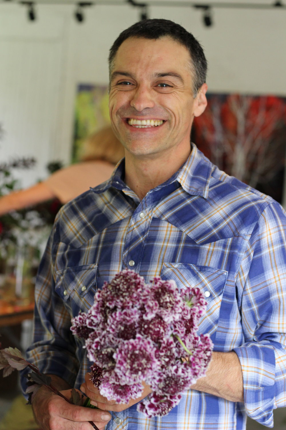Too fun: Max Gill with Scabiosa atropurpurea 'Burgundy Bonnets' (I think)