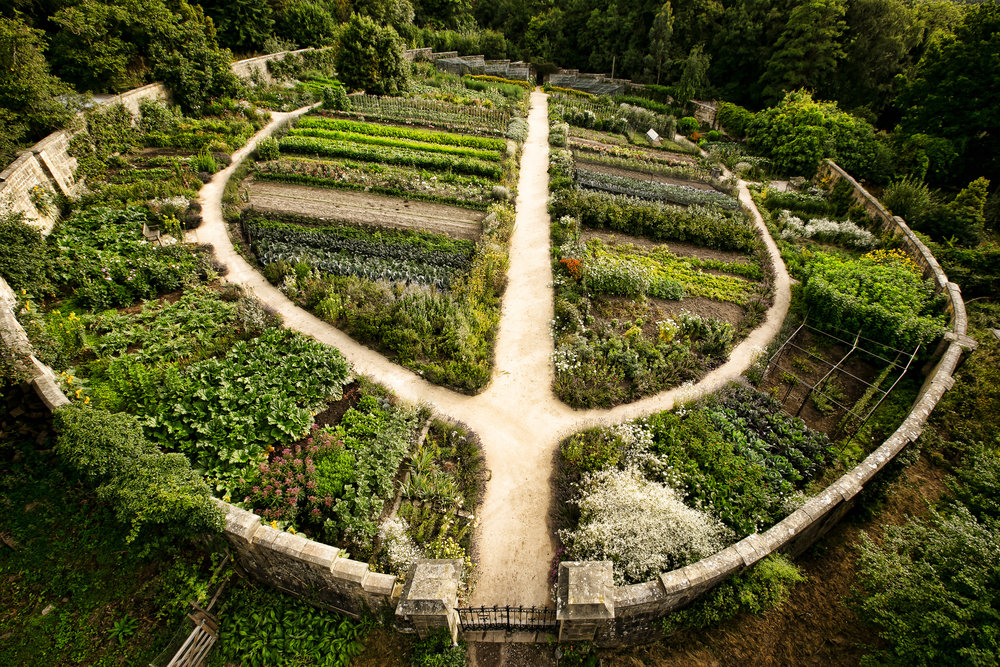 Gravetye manor's south-sloping walled kitchen garden built in 1901.  Photo courtesy of Gravetye.
