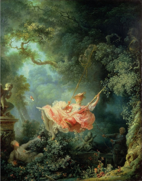 Fragonard's  The Swing ( at The Wallace Collection)   painted before the French Revolution in 1767, a defining image of the frivolity of the Rococo. Think flirtation, fecundity, roses, mist, eroticism. The tree limbs crossing the canvas represent 'the blast and the bough', which according to art historians is a signifier of passion. Notice the woman's shoe, her garter, how the putto is holding his finger to his lips to protect the lovers' secret.