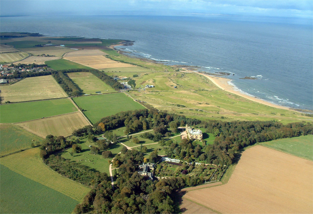 The Cambo Estate with Kingsbarns links along the beach and Kingsbarns distillery. Photo courtesy of Sir Peter Erskine