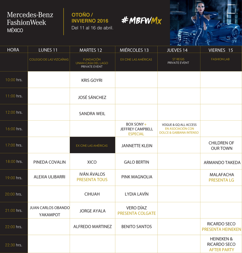 PROGRAMA MBFW 2016 | MERCEDES-BENZ FASHION WEEK MEXICO 2016