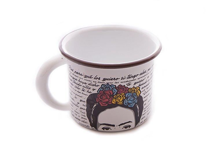 Taza peltre Frida Kahlo de Hilos en Nogada.jpg