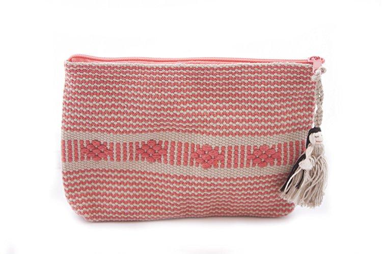 Cosmetiquera Bordada en Telar de Cintura - Rosa - $200 pesos