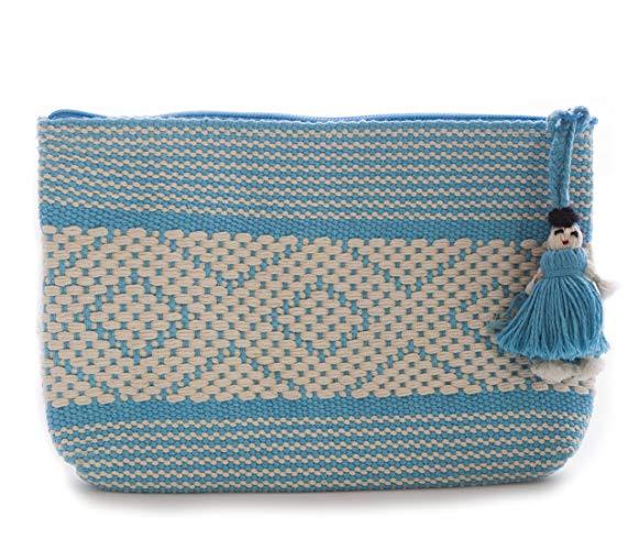 Cosmetiquera Azul Bordada en telar de Cintura - MXN $250.00
