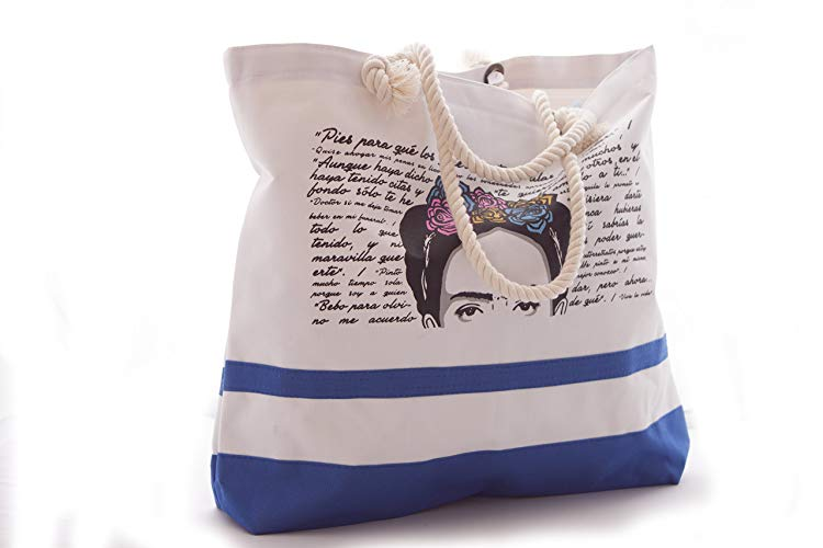 Bolsa de Playa Diseño Frida Azul - MXN $180.00
