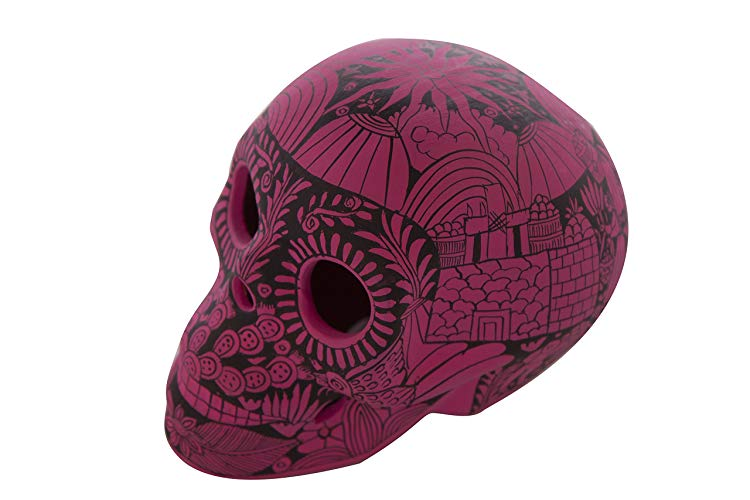 Cráneo Rosa Mexicano pintado con Estampas de Vida - MXN $1200.00