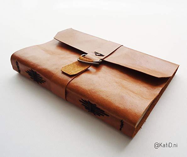 Cuaderno piel floja café claro Costura moño - MXN $450.00