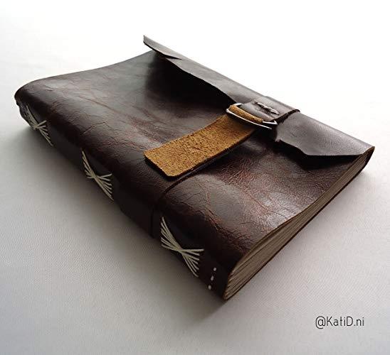 Cuaderno de piel floja café costura en tache - MXN $450.00