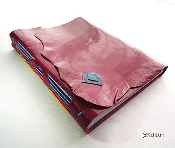 Cuaderno de piel Magenta Costura multicolor - MXN $450.00