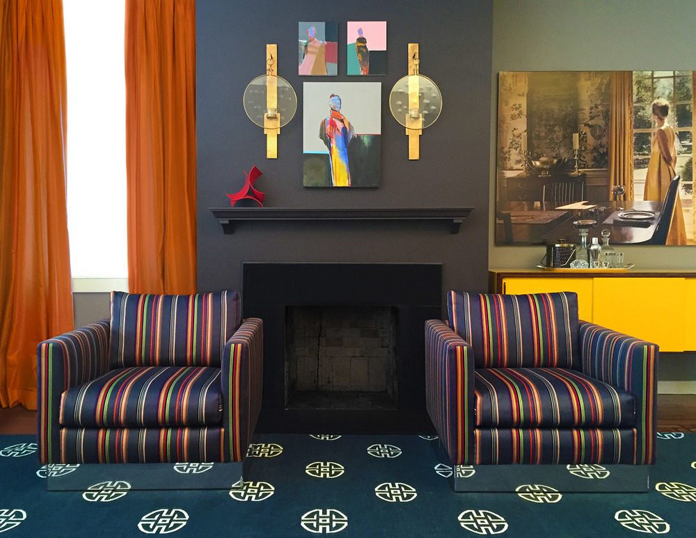 Vintage club chairs upholstered in Paul Smith fabric