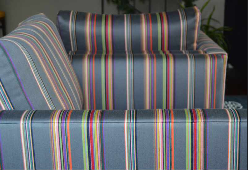 Vintage chairs upholstered in Paul Smith fabric