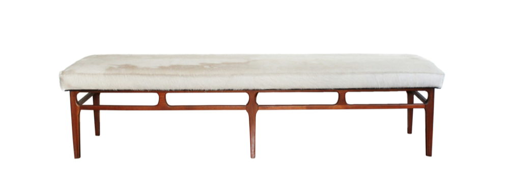 Mid century bench upholstered in white cowhide