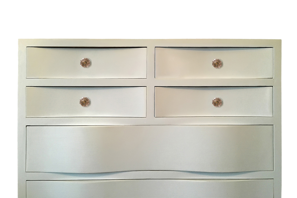 White lacquered vintage dresser with pink crystal drawer pulls