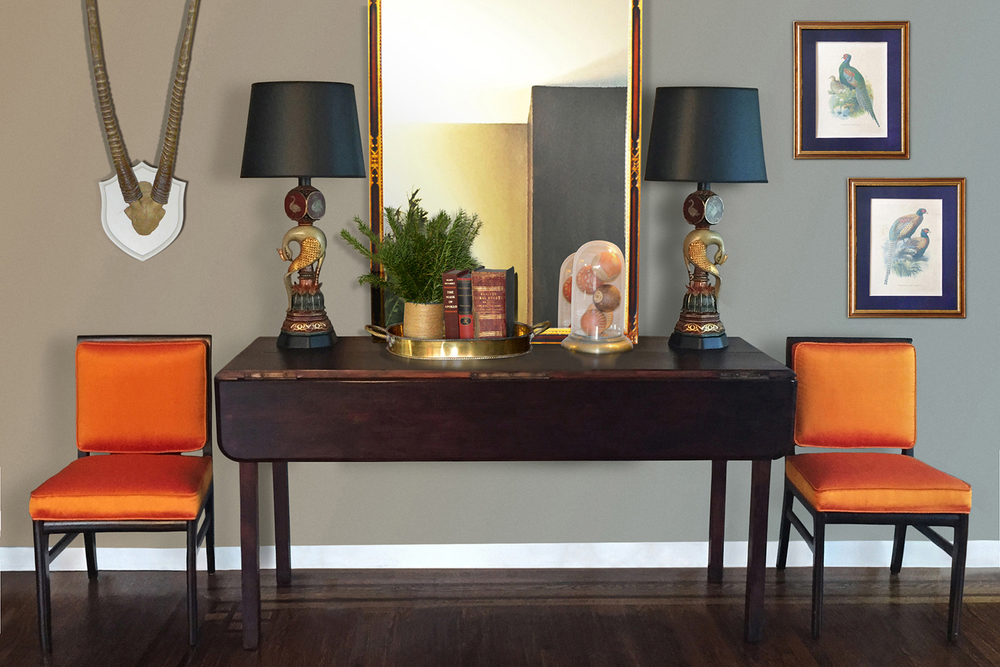Accent chairs upholstered in orange shantung silk
