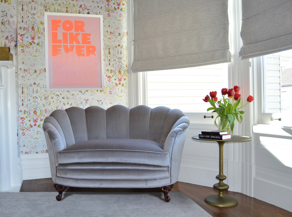 Vintage love seat reupholstered in grey velvet fabric