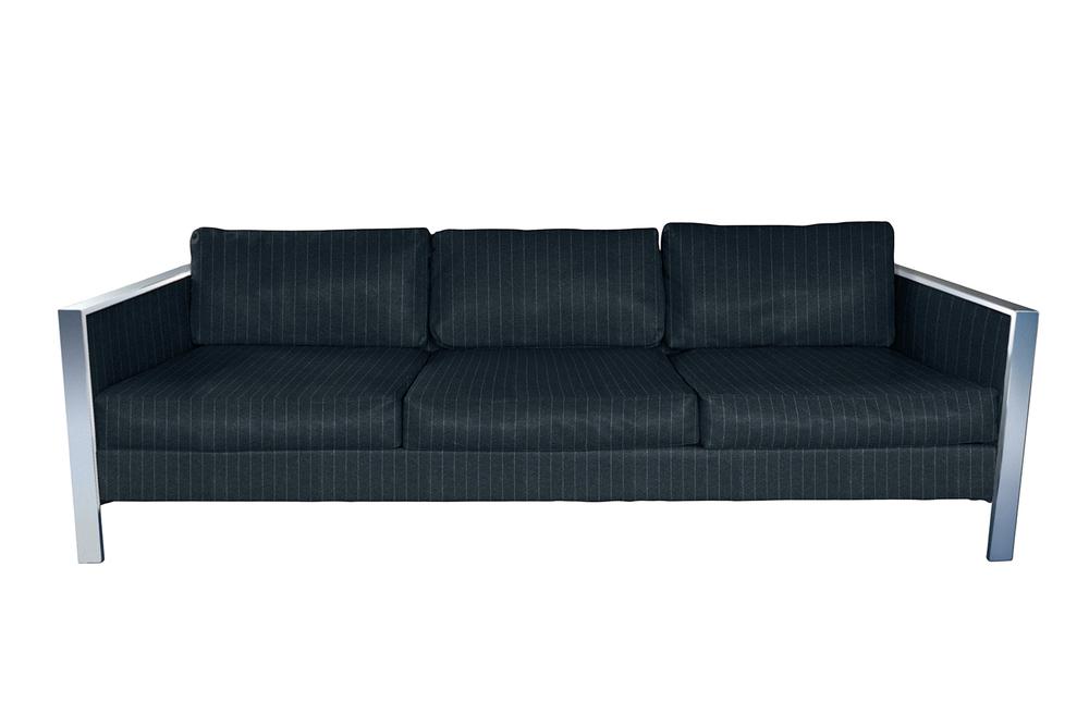 Vintage Milo Baughman style sofa upholstered in Ralph Lauren Windsor Chalk Stripe suit striping upholstery fabric