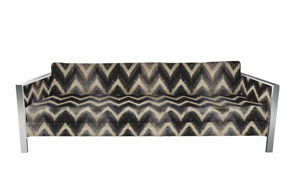 Vintage Milo Baughman style sofa upholsteredin Schumacher Shockwave upholstery fabric