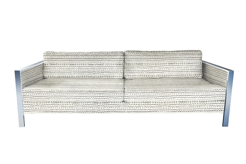 Vintage Milo Baughman style sofa upholstered in Pindler Marrakesh upholstery fabric